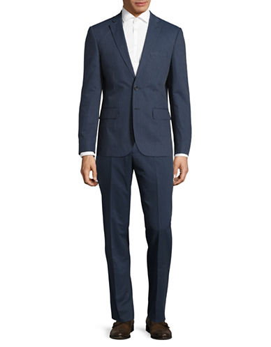 Haight And Ashbury Geo Dot Cotton Suit-BLUE-42 Regular