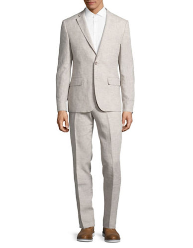 Haight And Ashbury Linen Suit-NATURAL-36 Regular