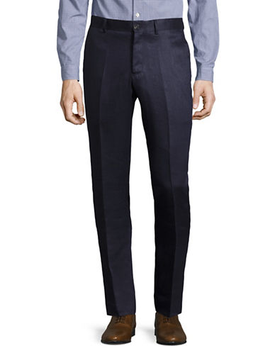 Haight And Ashbury Linen Dress Pants-BLUE-34