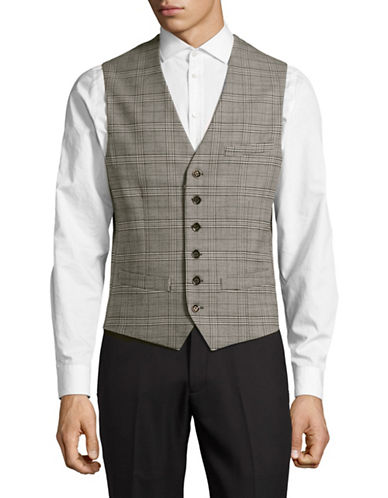 Haight And Ashbury Bank Glen Plaid Wool Vest-GREY-Large