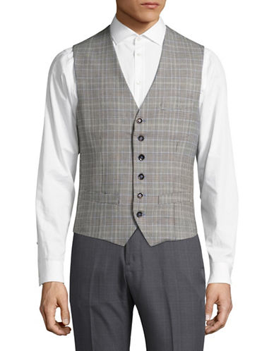 Haight And Ashbury Bank Glen Plaid Wool Vest-GREY-Medium