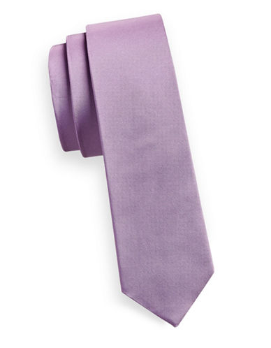 Haight And Ashbury Slim Solid Silk Tie-VIOLET-One Size