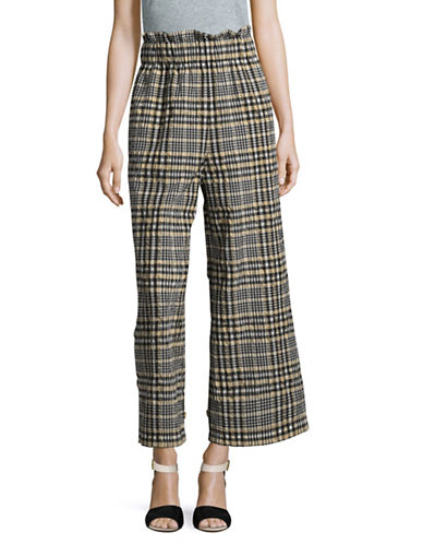 Ganni Checked Seersucker Pants-NAVY MULTI-36