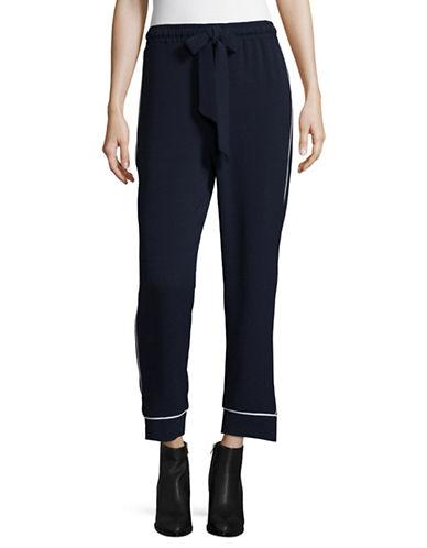 Ganni Cropped Pyjama Style Pants-NAVY-36