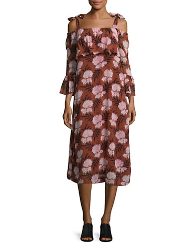 Ganni Palm Print Cold-Shoulder Dress-BROWN MULTI-38