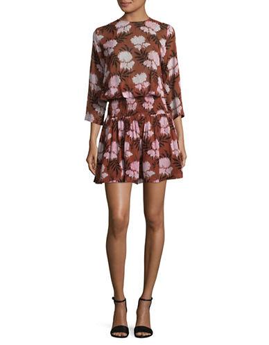 Ganni Palm Print Dolman Sleeve Shift Dress-BROWN MULTI-36
