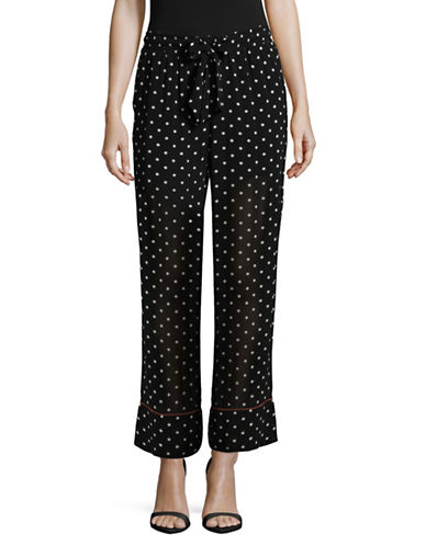 Ganni Dotted Georgette Pants-BLACK MULTI-40
