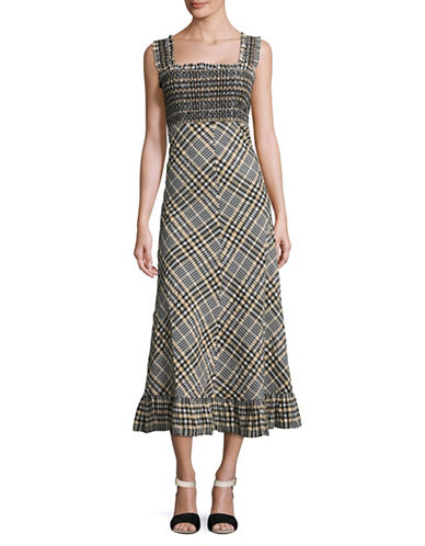 Ganni Sleeveless Seersucker Plaid Sundress-NAVY MULTI-36