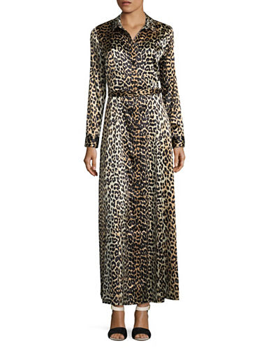 Ganni Leopard-Printed Silk-Blend Long Dress-BROWN-38