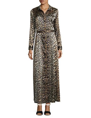 Ganni Leopard-Printed Silk-Blend Long Dress-BROWN-40