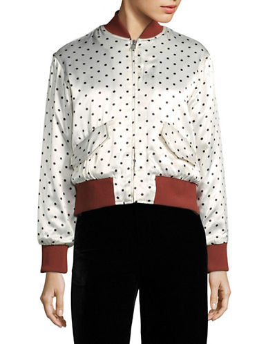 Ganni Long Sleeve Polka Dot Bomber Jacket-WHITE-36
