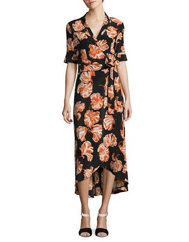 Ganni Printed Silk Wrap Dress-BLACK-40