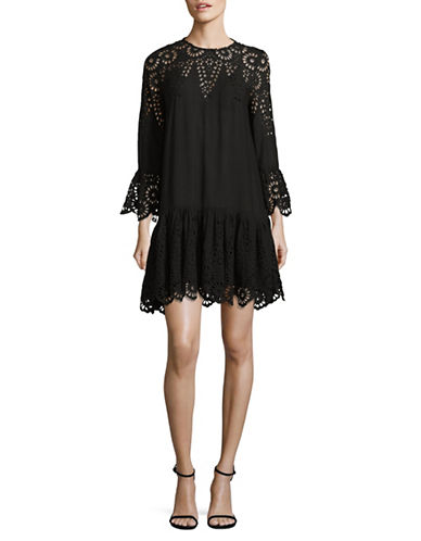Ganni Eyelet Long-Sleeve Dress-BLACK-42