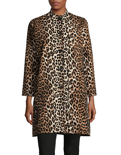 Ganni Leopard Print Topcoat-BROWN-40