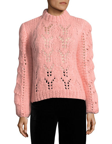 Ganni Long Sleeve Oversized Handknitted Mohair Wool Sweater-PINK-Medium