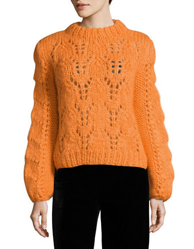 Ganni Long Sleeve Oversized Handknitted Mohair Wool Sweater-ORANGE-Small