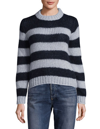 Ganni Crew Neck  Stripe Mohair-Wool Knit Sweater-BLUE MULTI-Small