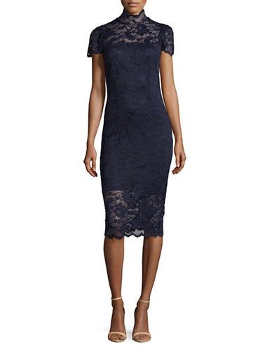 Ganni Lace Midi Dress-NAVY-36