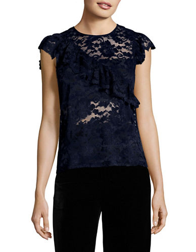 Ganni Ruffled Lace Blouse-NAVY-42