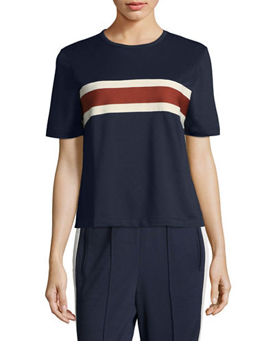 Ganni Striped Crew T-Shirt-NAVY-38