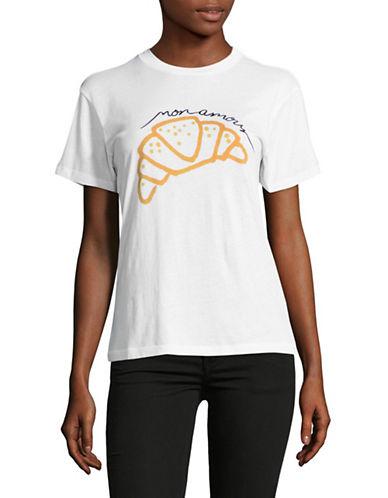 Ganni Short Sleeve Crew Neck Croissant T-Shirt-WHITE-Small 89265525_WHITE_Small