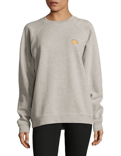 Ganni Croissant Embroidered Sweatshirt-GREY-Large 89265531_GREY_Large