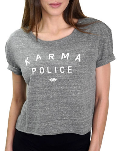Neoclassics Desert Daze Karma Police Crop Tee-HEATHER GREY-X-Small