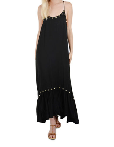 Molly Bracken Studded Embroidered Maxi Dress-BLACK-Medium/Large