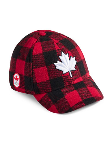 Canadian Olympic Team Collection Toddler Buffalo Check Fleece Lined Cap-RED-One Size
