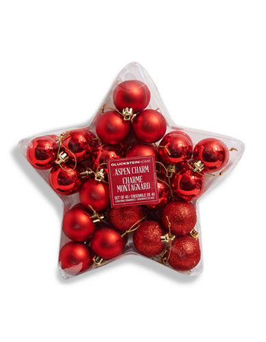 Glucksteinhome Aspen Charm Set of 40 Ornaments-RED-One Size