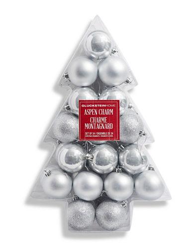 Glucksteinhome Noel Blanc Set of 34 Ornaments-SILVER-One Size
