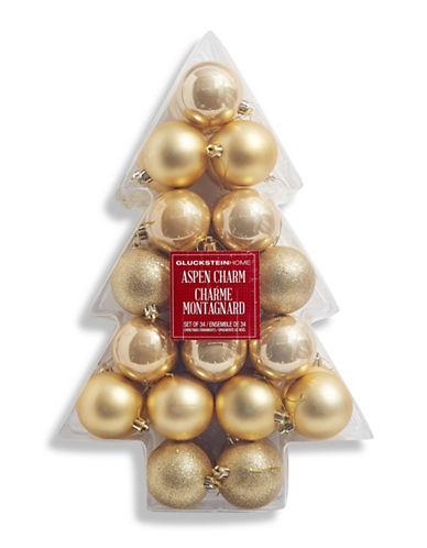 Glucksteinhome Aspen Charm Set of 34 Ornaments-GOLD-One Size