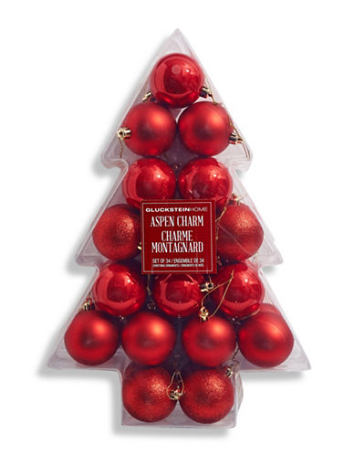 Glucksteinhome Aspen Charm Set of 34 Ornaments-RED-One Size