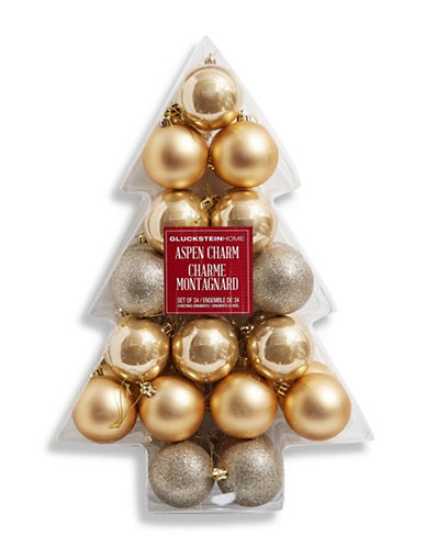 Glucksteinhome Noel Blanc Set of 34 Ornaments-CHAMPAGNE-One Size