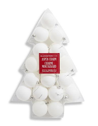 Glucksteinhome Aspen Charm Set of 34 Ornaments-WHITE-One Size
