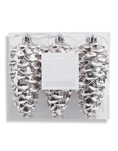 Glucksteinhome Noel Blanc Set of Six Shatter Proof Pinecone Ornaments-SILVER-One Size