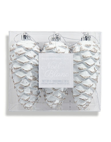 Glucksteinhome Noel Blanc Set of Six Shatter Proof Pinecone Ornaments-WHITE-One Size