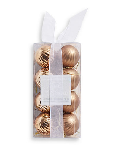 Glucksteinhome Noel Blanc 16-Piece Swirl Ornament Set-CHAMPAGNE GOLD-One Size