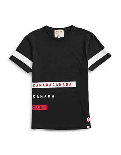 Canadian Olympic Team Collection x Drake General Store Unisex Stripe T-Shirt-BLACK-X-Small