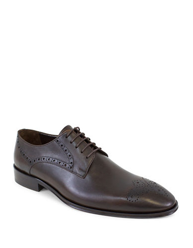 Jay+Dee Man The Benjamin Leather Brogue Derby Shoes-BROWN-EU 40/US 7
