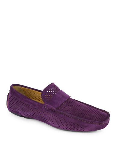 Jay+Dee Man The Duke Perforated Suede Driving Shoes-PURPLE-EU 42/US 9