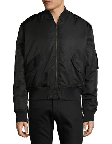 Markus Lupfer Baseball Collar Bomber Jacket-BLACK-Large