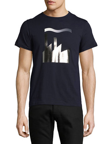 Markus Lupfer Foil Print T-Shirt-NAVY-Large
