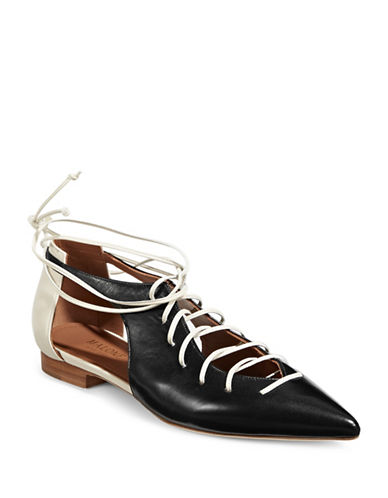Malone Souliers Leather Lace-Up Flats-BLACK-EUR 37.5/US 7.5