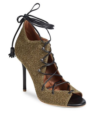 Malone Souliers Metallic Savannah Lace-Up Heels-GOLD-EUR 37.5/US 7.5