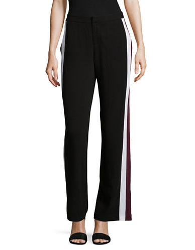 Lord & Taylor Contrast Stripe Fashion Track Pants-BLACK-8