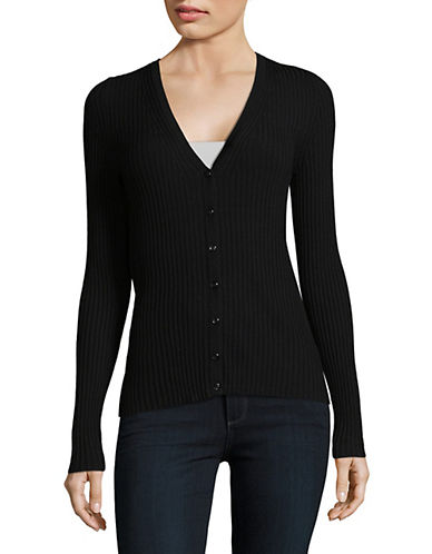 Lord & Taylor V-Neck Ribbed Cardigan-BLACK-Small