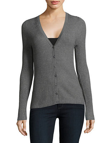 Lord & Taylor V-Neck Ribbed Cardigan-PEWTER HEATHER-X-Large