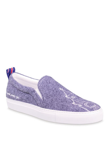 Joshua Sanders Embroidered Slip-On Sneakers-GREY-EUR 39/US 9