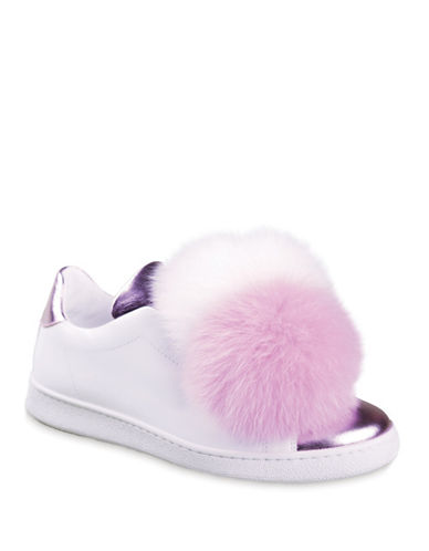 Joshua Sanders Pom Leather and Fox Fur Sneakers-WHITE ROSE-EUR 36/US 6